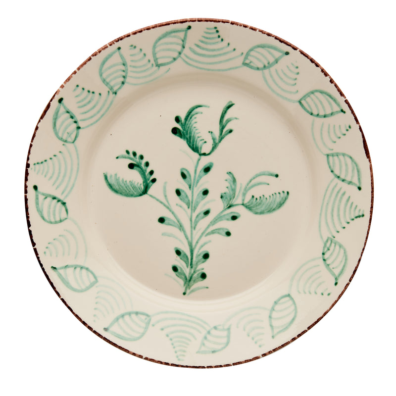 Casa Nuno Green and White Dinner Plate, 3 Flowers/Shells, Set of 2
