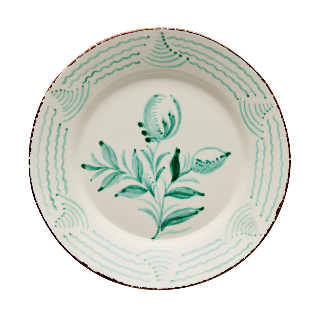 Casa Nuno Green and White Dinner Plate, 2 Flowers/Waves, Set of 2
