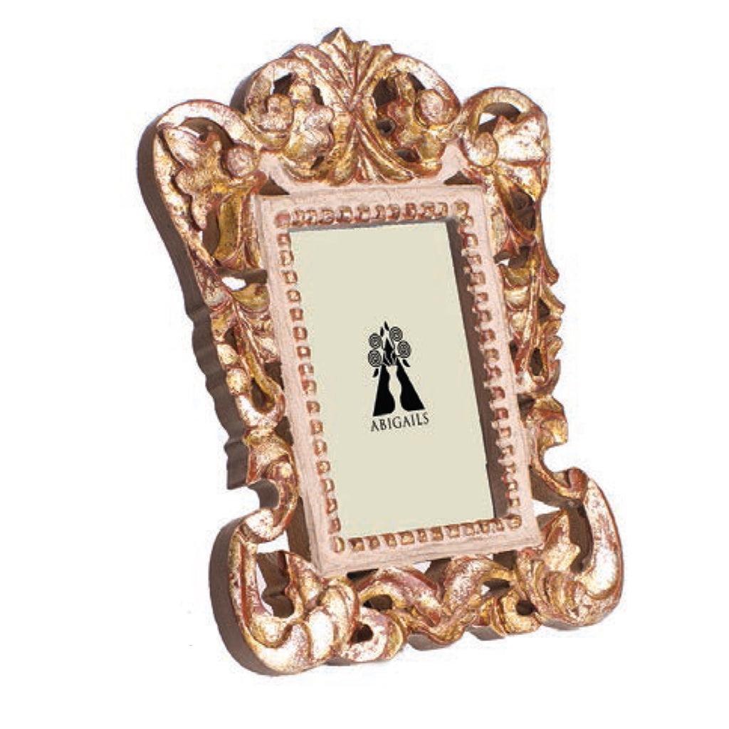 Vendome Frame, Gray/Gold Leaf