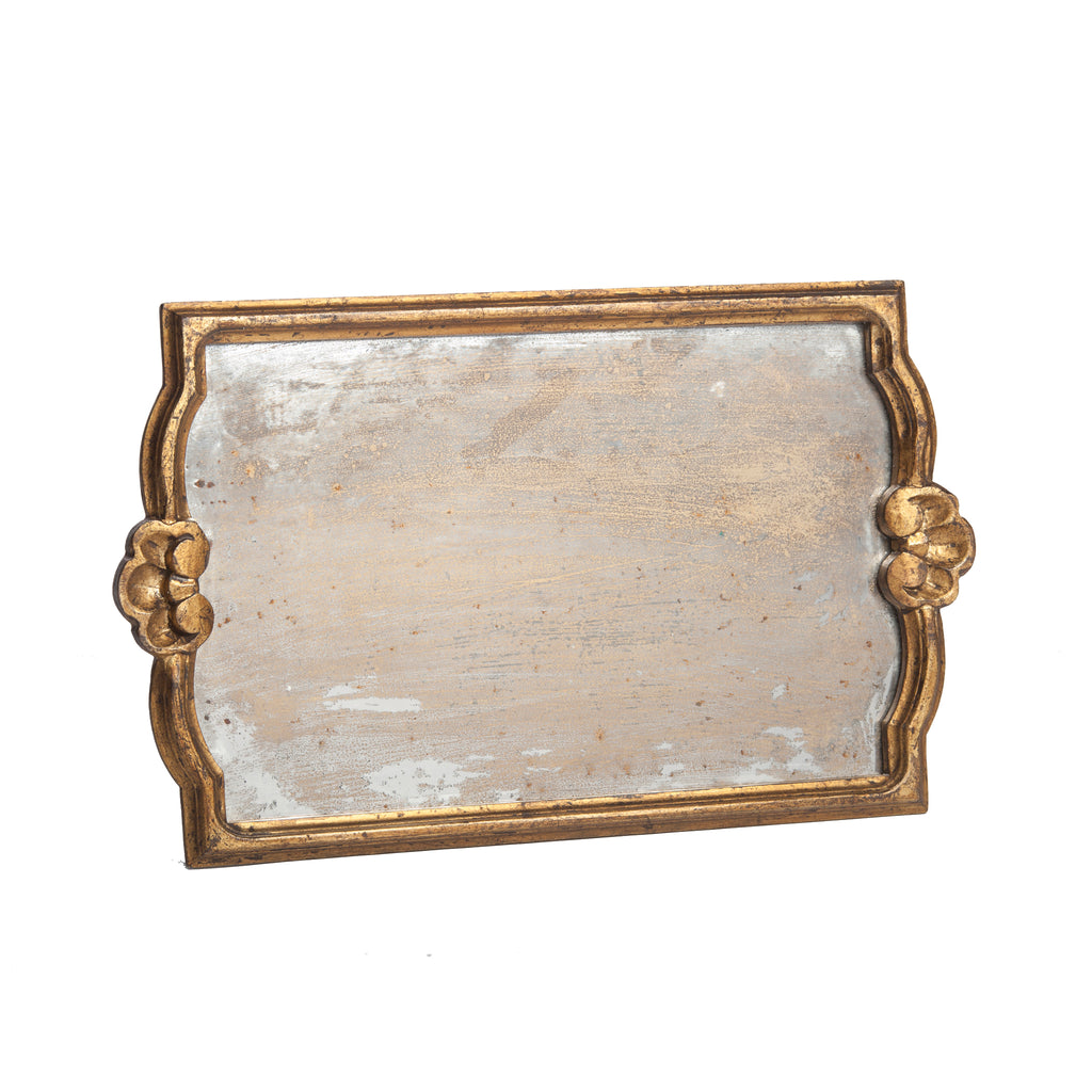 Vendome Tray with Antiqued Mirror, Gold, Large