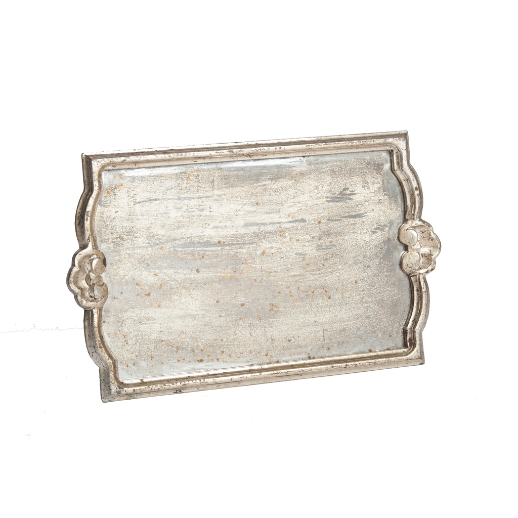 Vendome Tray with Antiqued Mirror, Silver Leaf
