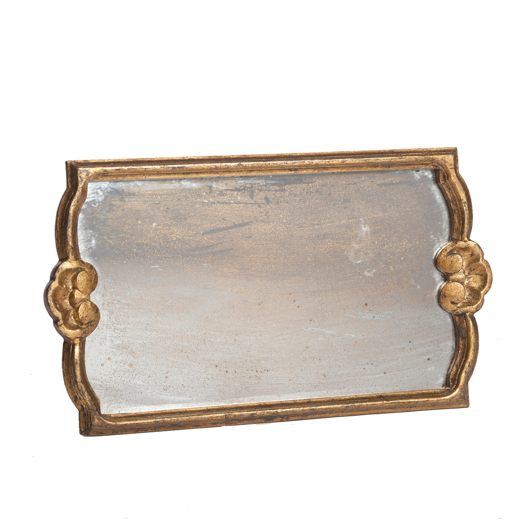 Vendome Tray with Antiqued Mirror, Gold Leaf