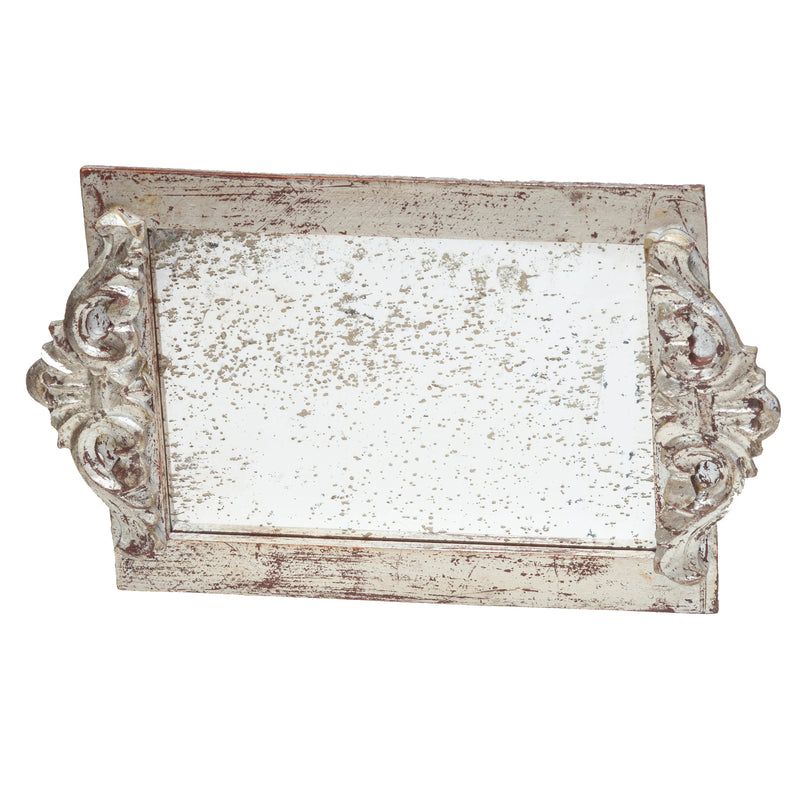 524851 Abigails Wholesale Tabletop Wood and Metals Trays Vendome Tray with Antiqued Mirror Silver Leaf* Vendome