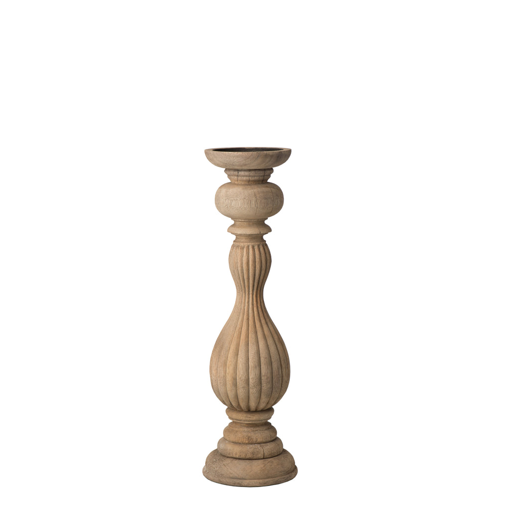 Carved Wood Candlestick, Small