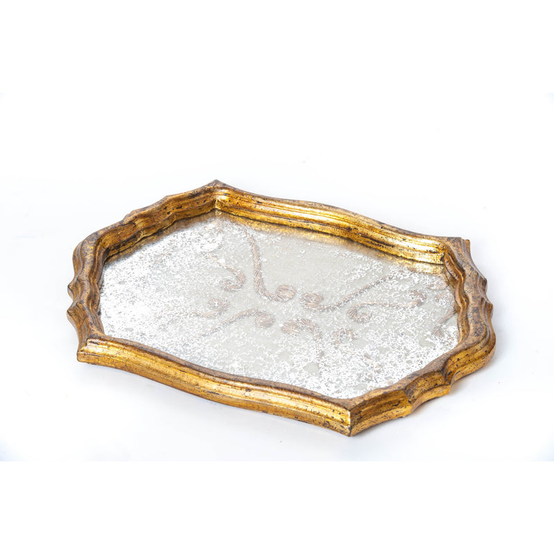 524910 Abigails Wholesale Tabletop Wood and Metals Trays Vendome Tray Antique Fabric Surface Vendome