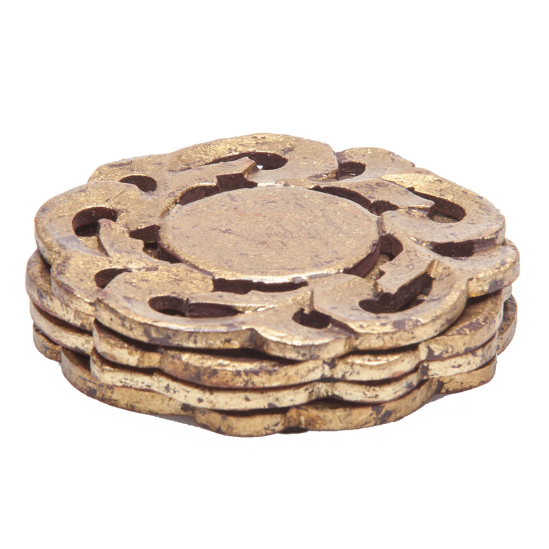 Provence Coasters, Antiqued Gold Finish