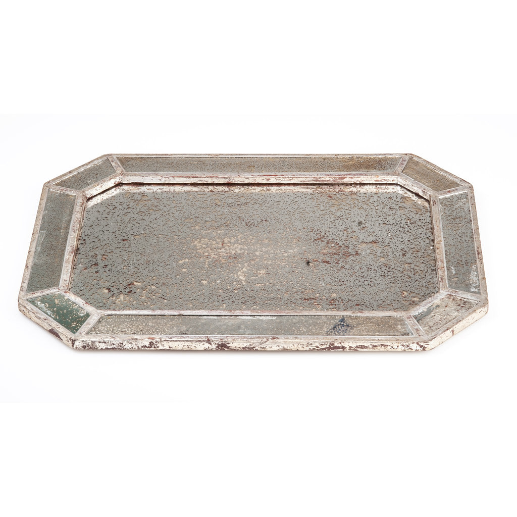 524916 Abigails Wholesale Tabletop Wood and Metals Trays Mirrored Tray with Silver Finish