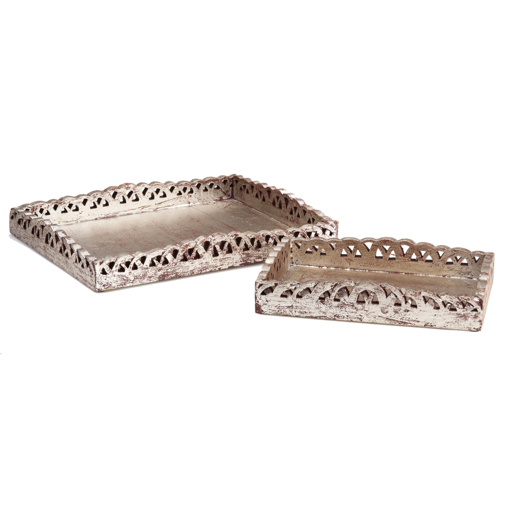 Scalloped Cut Out Wood Tray Set, Silver Finish