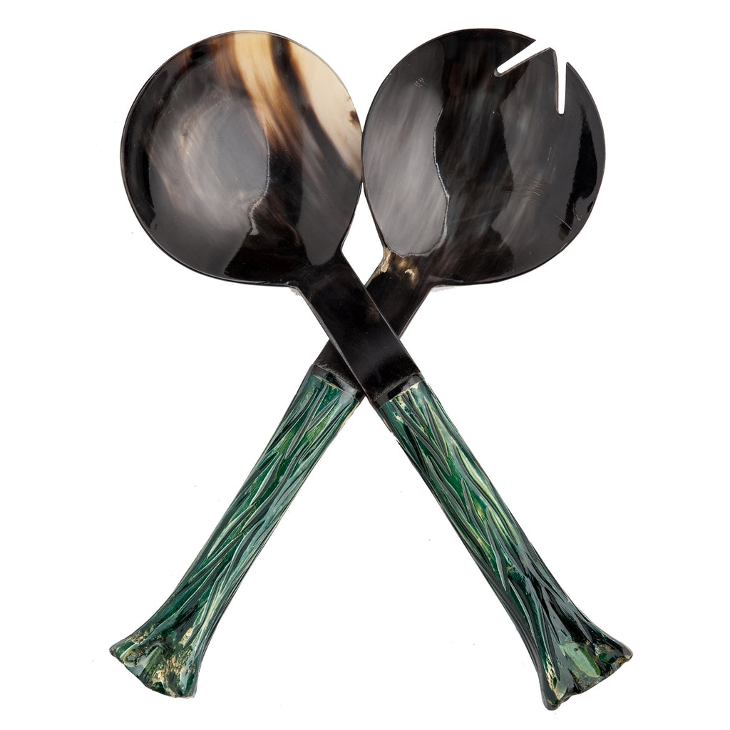 528029 Abigails Wholesale Tabletop Wood and Metals Serving Essentials Serengeti Salad Servers Horn Green*