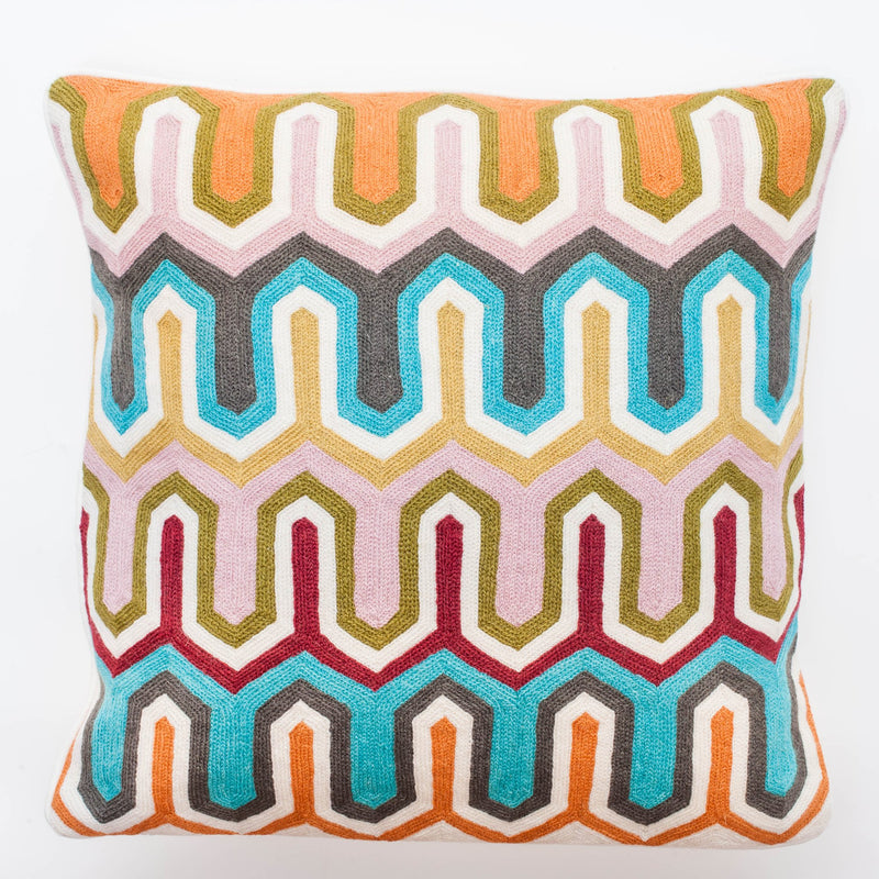 536006 Abigails Wholesale Textiles Pillows  Pillow Crewel Embroidery in Geometric Design