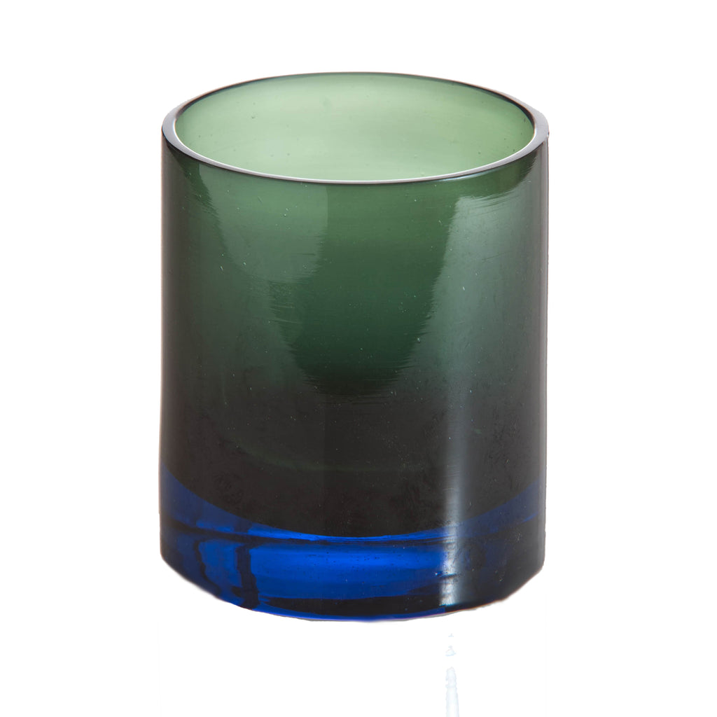 Ombre Old Fashioned Glass, Blue and Green, Set of 4