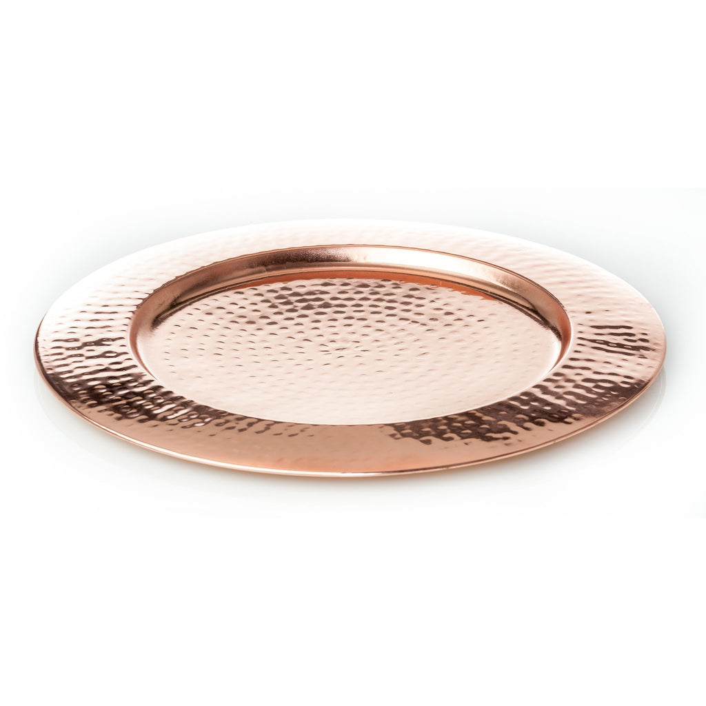 546401 Abigails Wholesale Tabletop Wood and Metals Copperware Element Collection Charger Shiny Hammered Copper Finish Set of 4