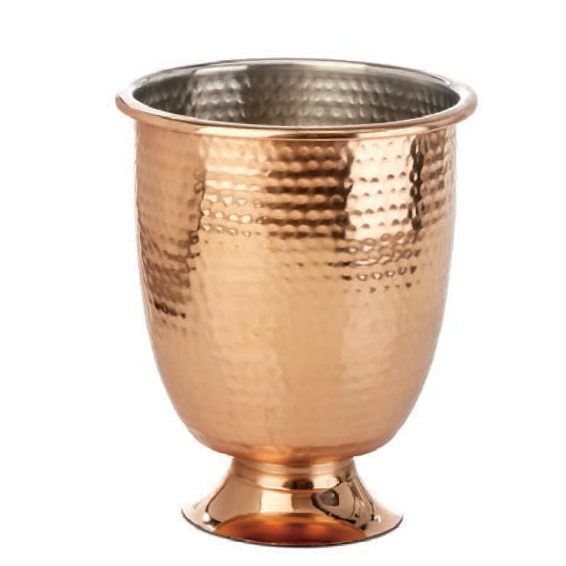 Element Collection, Footed Wine Cooler, Shiney Hammered Copper Finish