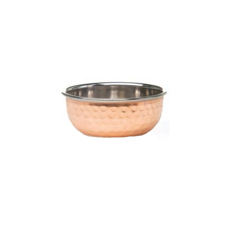 Element Collection, Small Condiment Bowl, Shiny Hammered Copper Finish, Set of 4