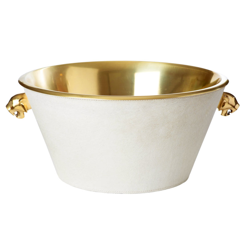 White Ceramic Goldleaf Cachepot w/ Cypress