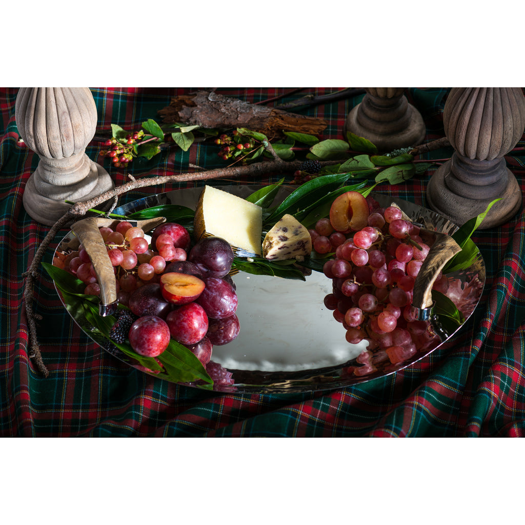 Chalet Nickel Tray with Horn Handles