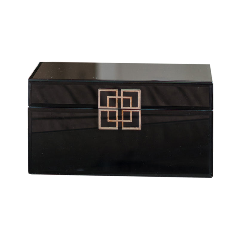 Black Glass Box with Sliver Geometric Design