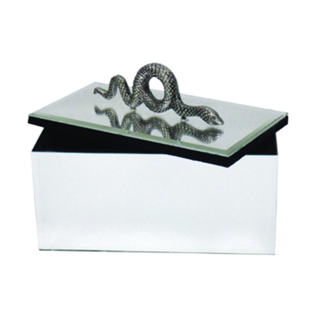 548003 Abigails Wholesale Home Décor Decorative Accessories Boxes Mirrored Box with Snake Embellishment