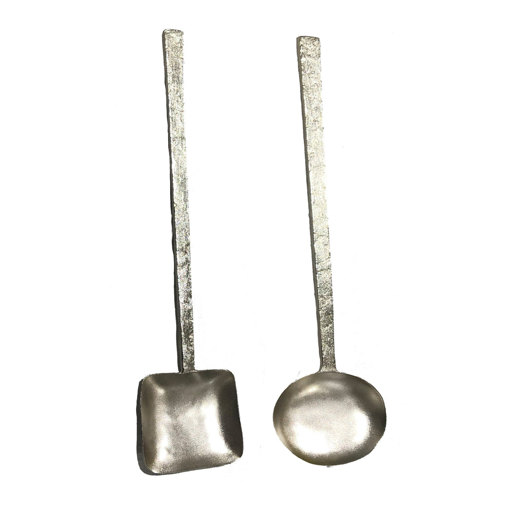 Silver Salad Server Set of 2, Geometry