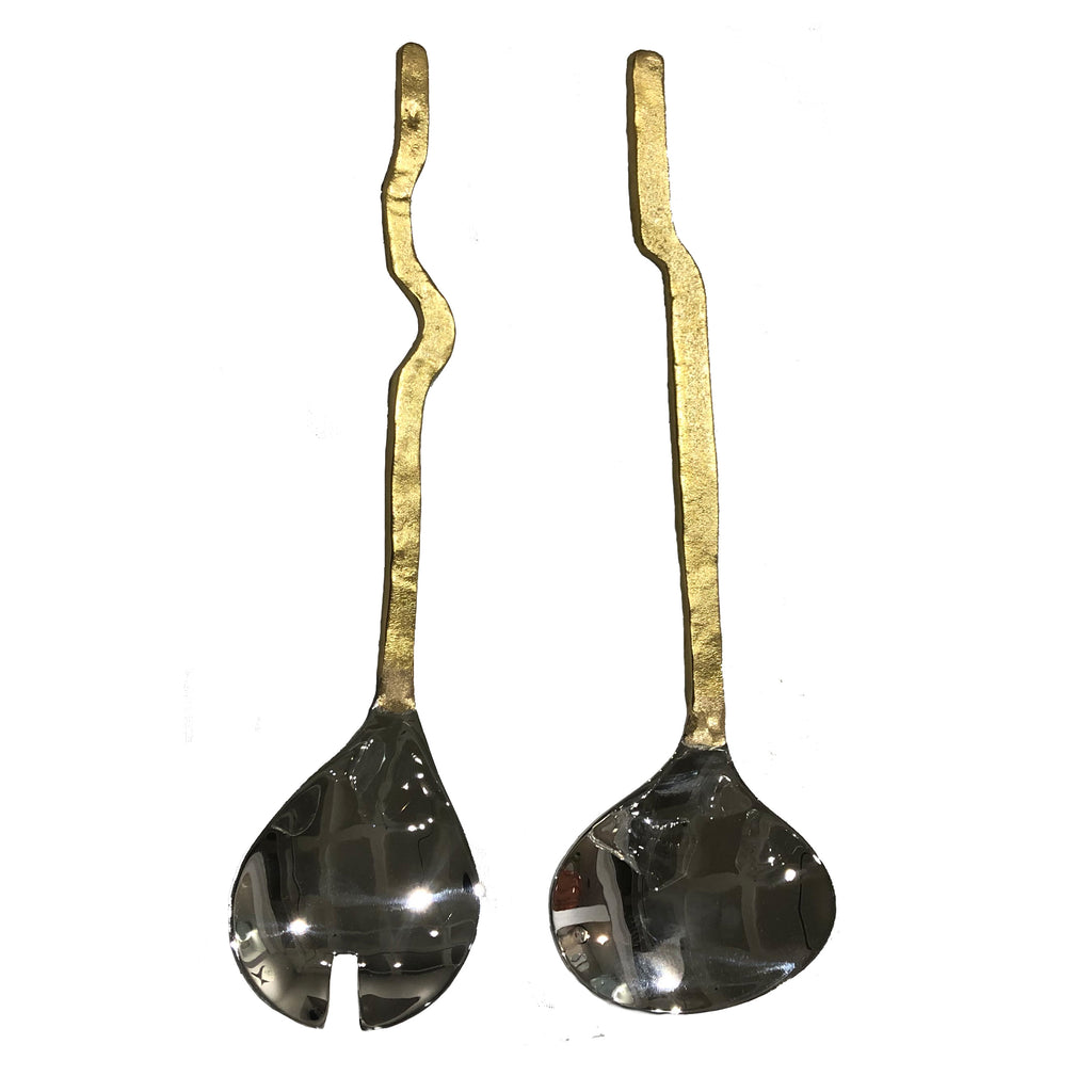 Gold/Silver Salad Server Set of 2, Wave