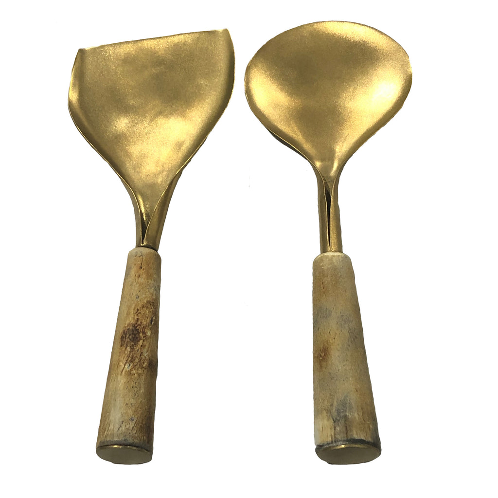Horn/Gold Server Set of 2, Woody