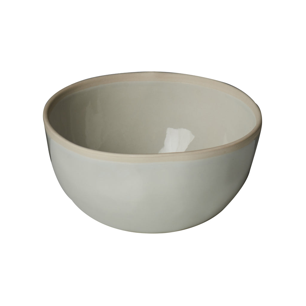Carmel Bowl, Pale Blue, Off-White Rim, Set of 4