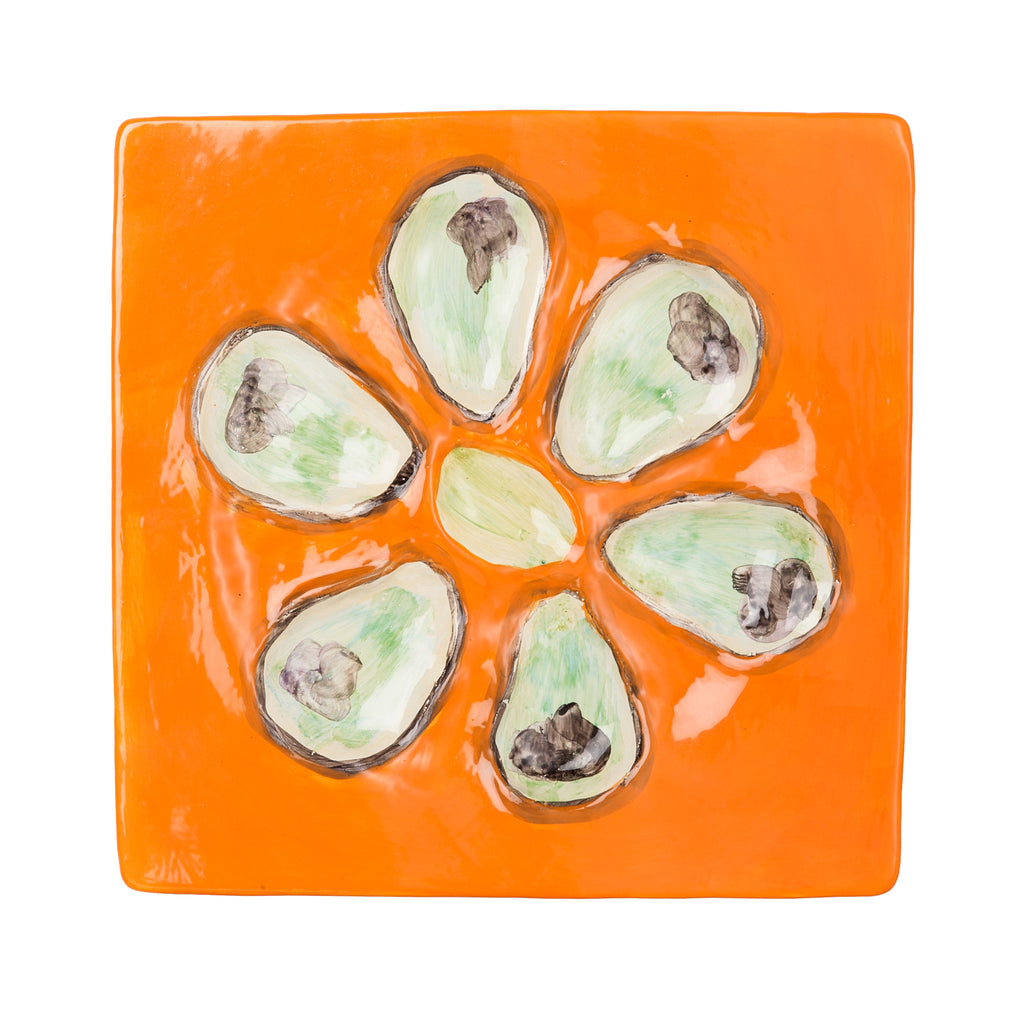 Oyster Plate, Ceramic Square, Mango, Set of 4