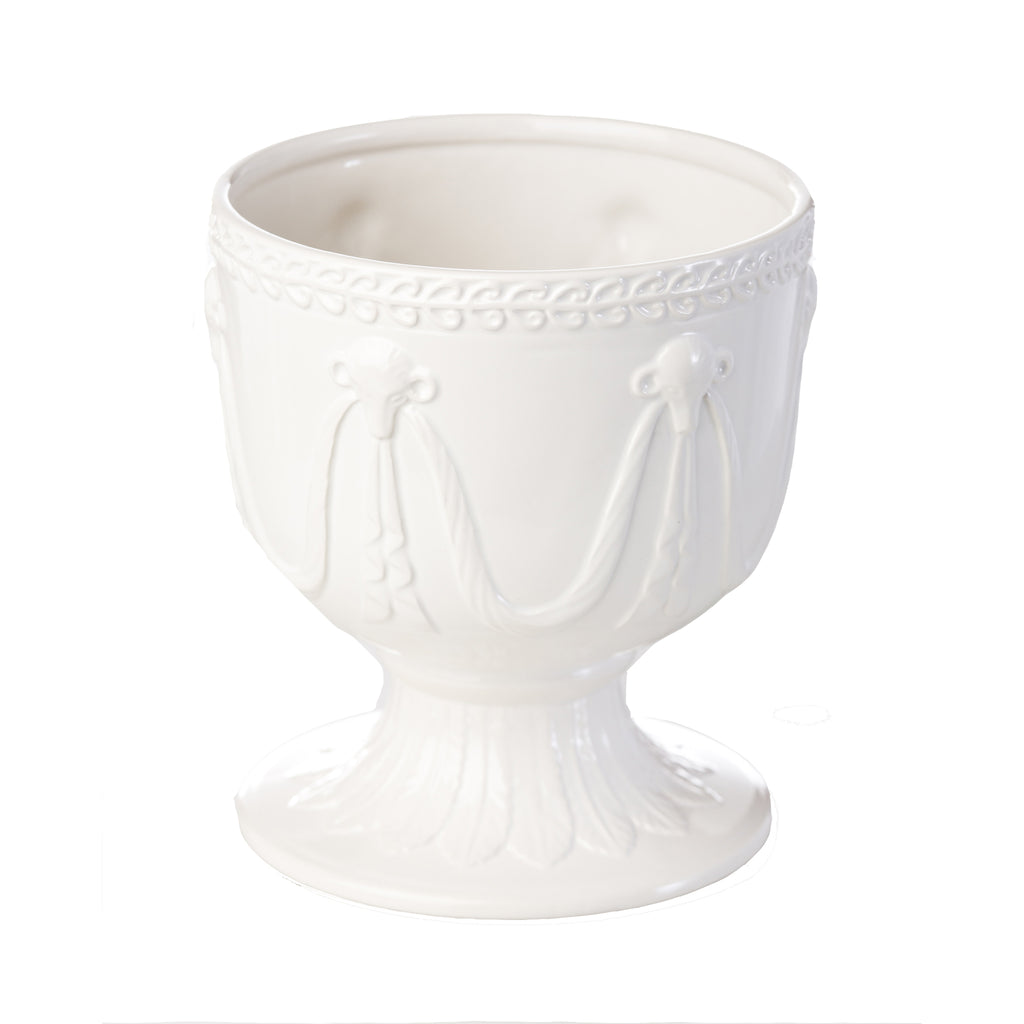 Cachepot with Rams Head and Garland Accents, Ivory, Small