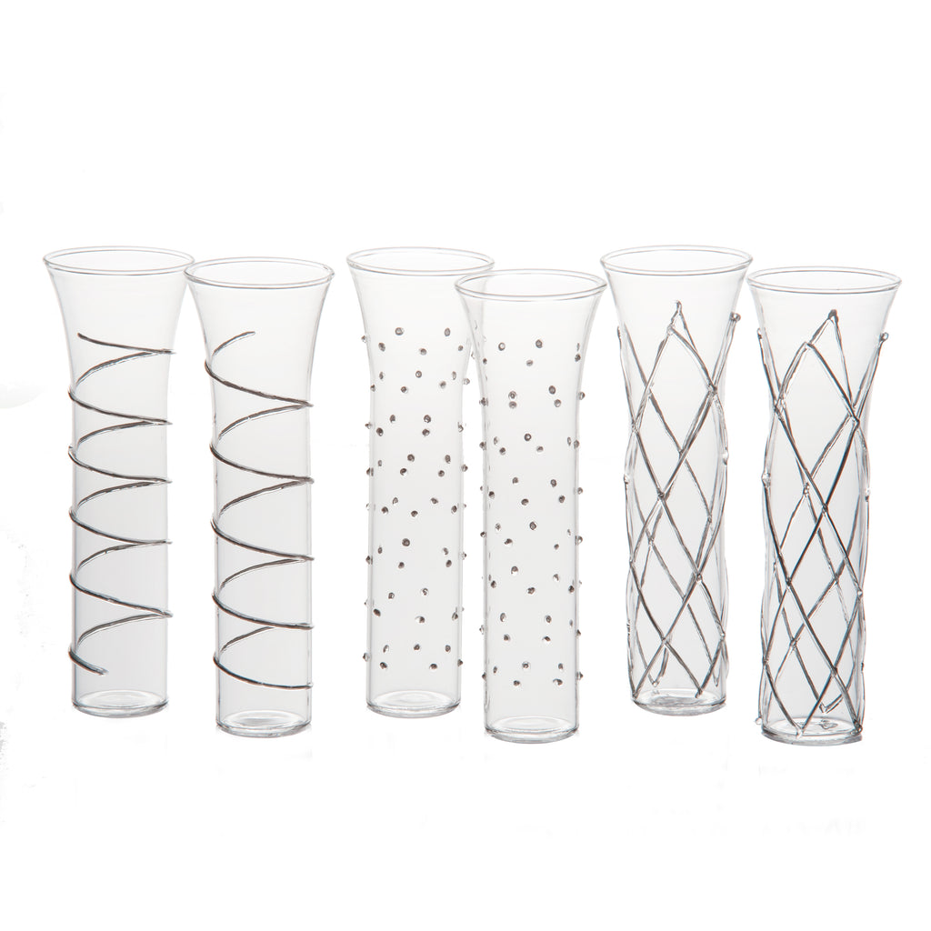 Razzle Dazzle Champagne Flutes with Silver Accents, Set of 6
