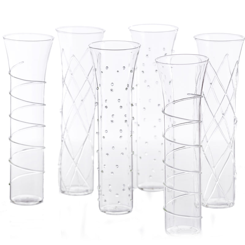 Razzle Dazzle Champagne Flutes with Clear Accents, Set of 6