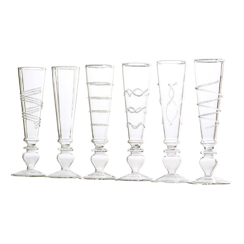 710451 Abigails Wholesale Tabletop Glassware Champagnes Footed Razzle Dazzle Champagne Flutes with Clear Accents Set of 6 Razzle Dazzle
