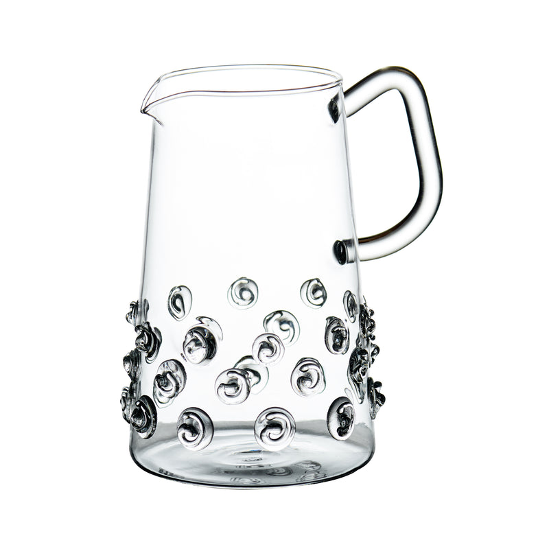 Glass Pitcher w/ Applied Glass Swirls