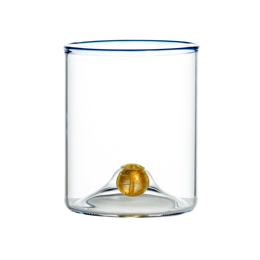 Golden Globe Stemless Wine Glass w/ Blue Trim, Set of 4