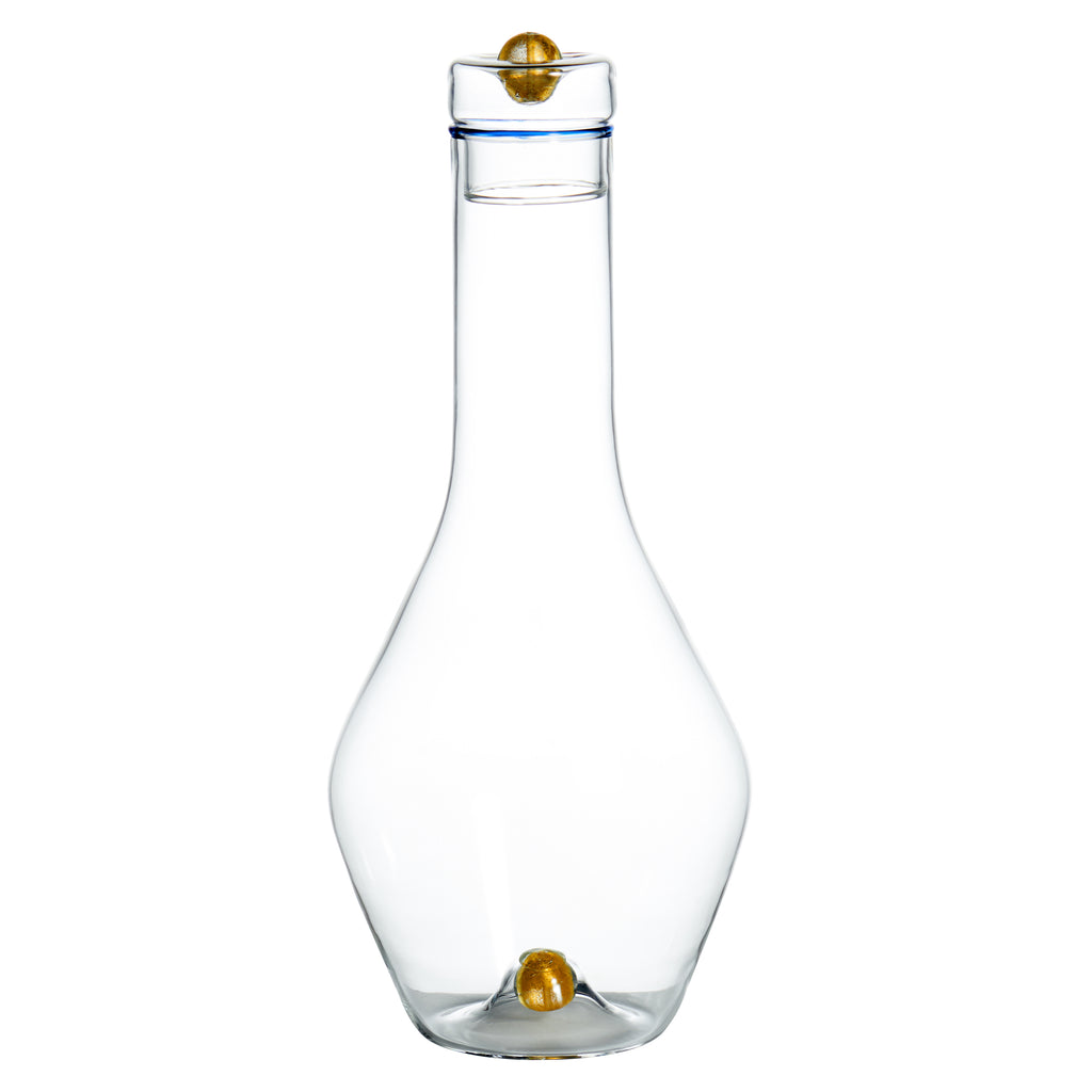 Golden Globe Decanter, Blue Trim w/ Gold Ball