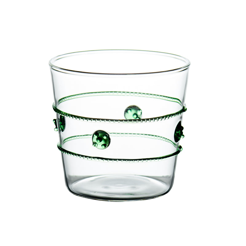 Double Old-Fashioned Glass w/ Applied Green Rope/Medallions, Set of 4