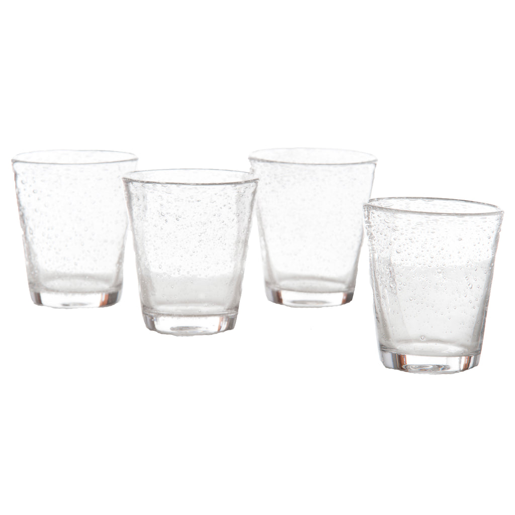 Bubble Glass Water, Clear, Set of 4