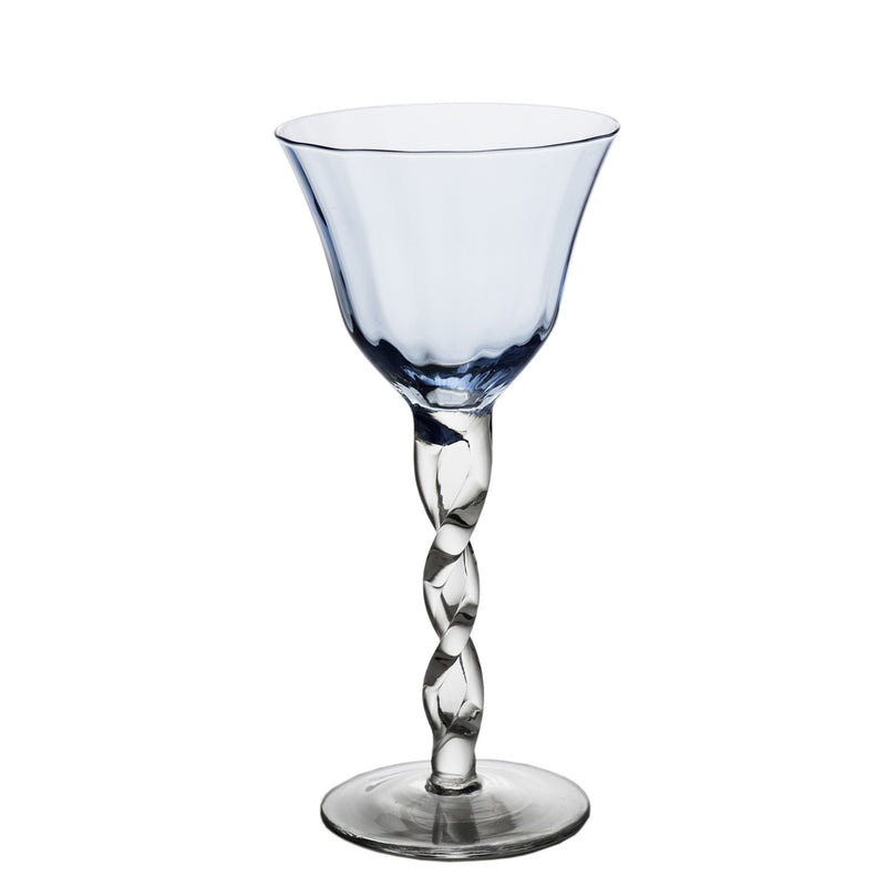 712470 Abigails Wholesale Tabletop Glassware Wine and Bar Adriana Wine Glass Blue Adriana