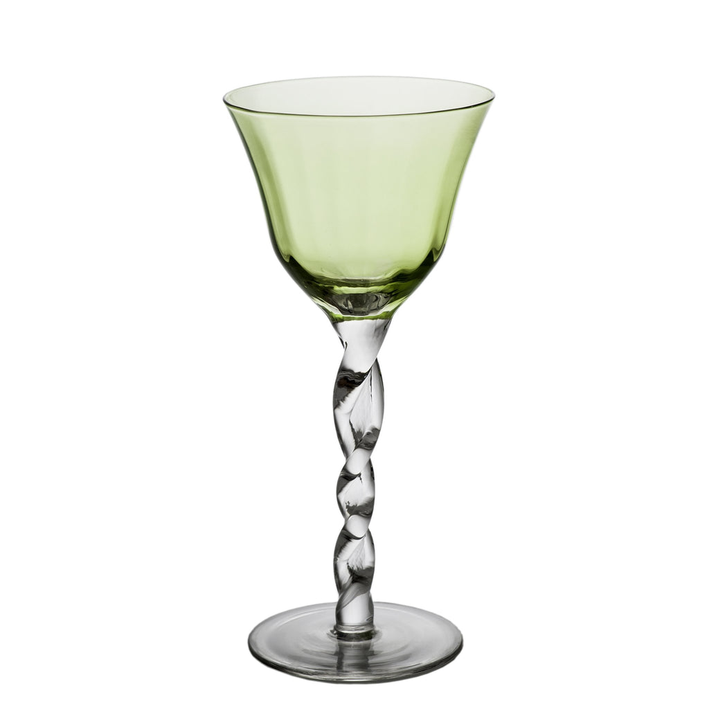 712471 Abigails Wholesale Tabletop Glassware Wine and Bar Adriana Wine Glass Green Adriana