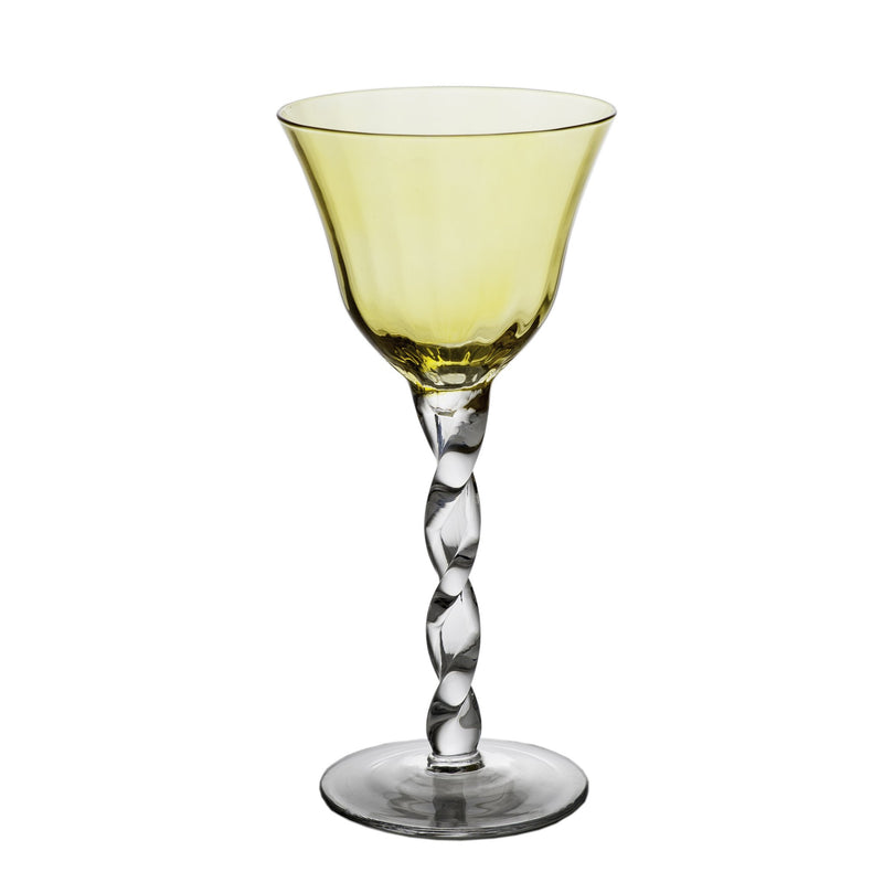 712472 Abigails Wholesale Tabletop Glassware Wine and Bar Adriana Wine Glass Yellow Adriana