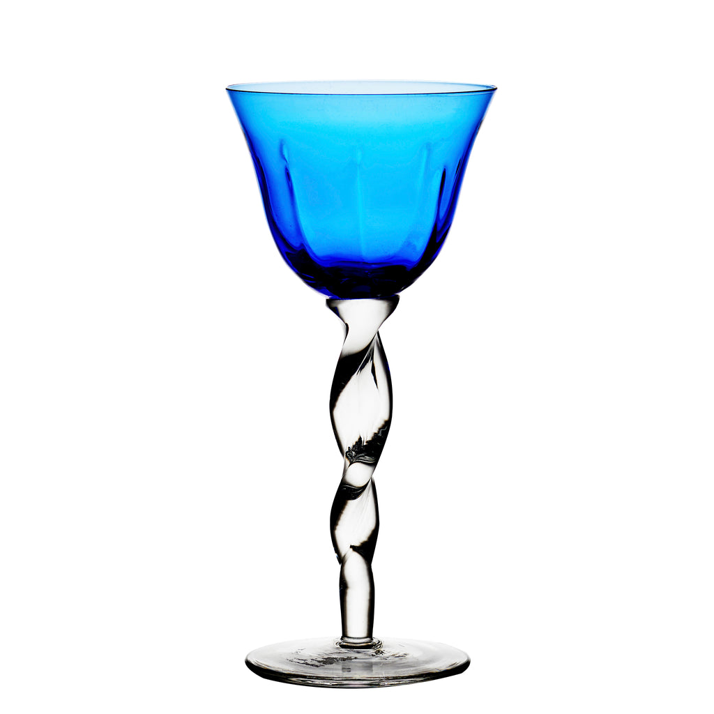 Adriana Wine Glass, Cobalt, Set of 4