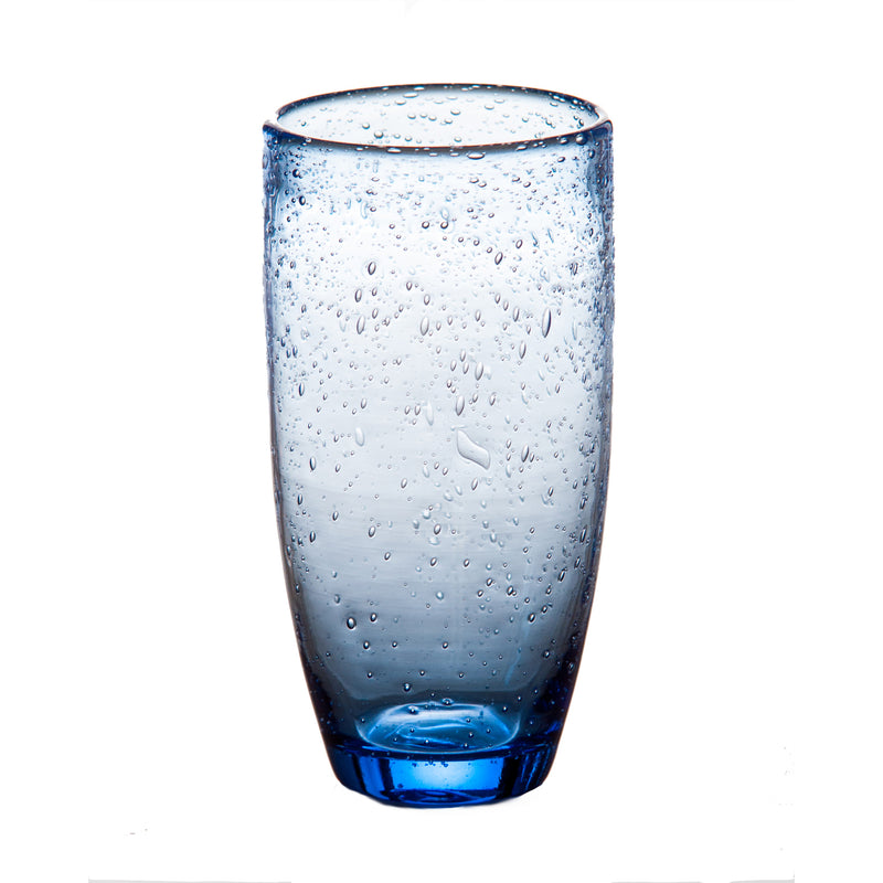 Tutti Frutti Bubble Glass Tumbler, Blue, Set of 4