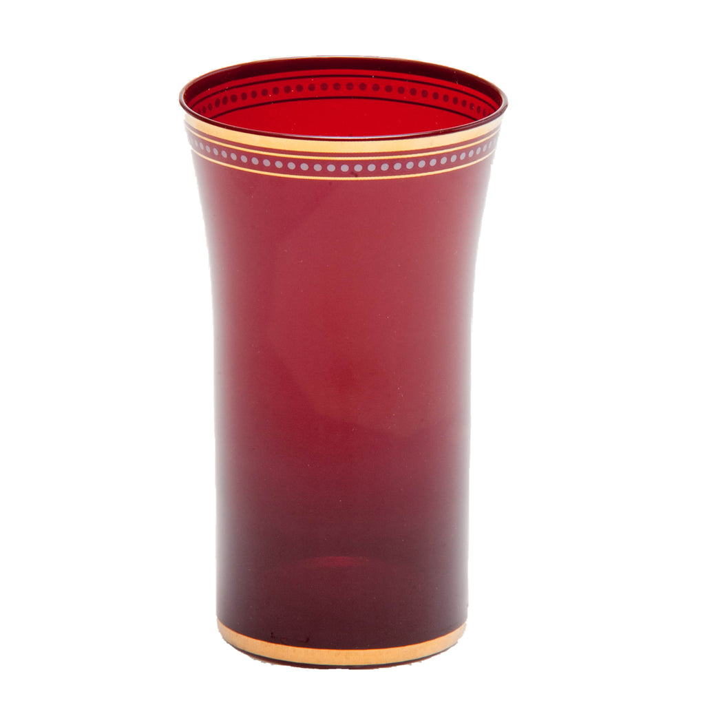 Red Glass Tumber with Gold Trim, Set of 4
