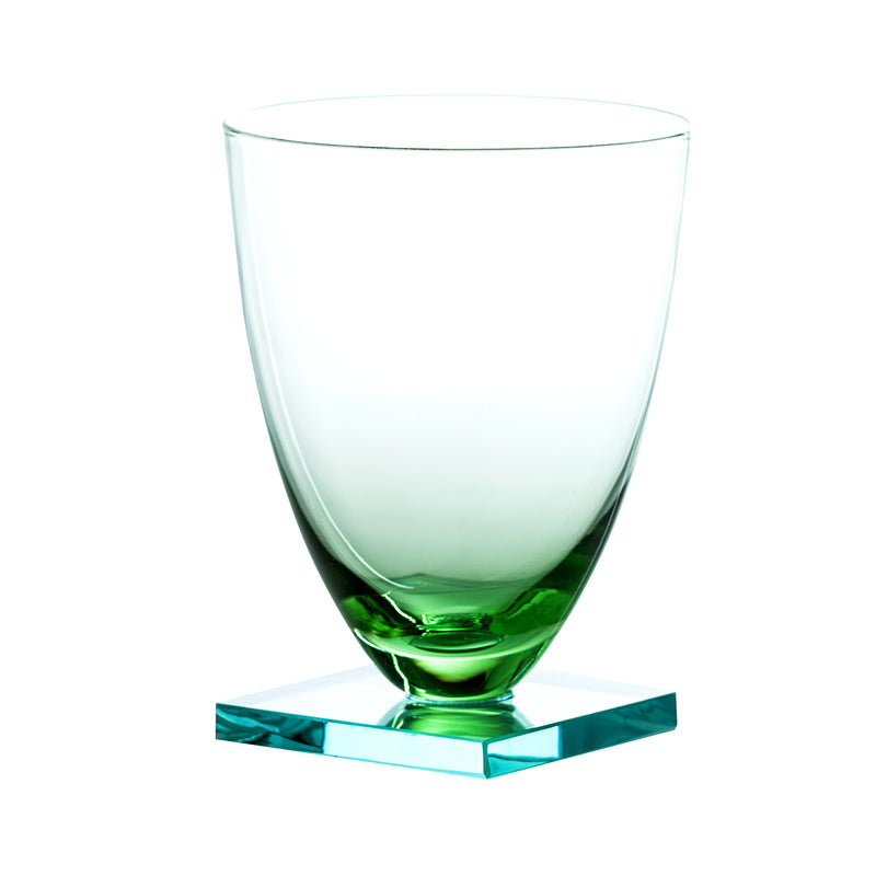 Studio Collection, Stemless Square Base Wine Glass, Pale Green, Set of 4