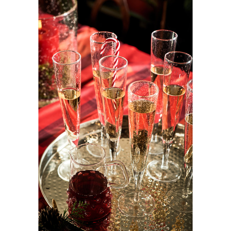 Bubble Glass Champagne Flute, Clear, Set of 4