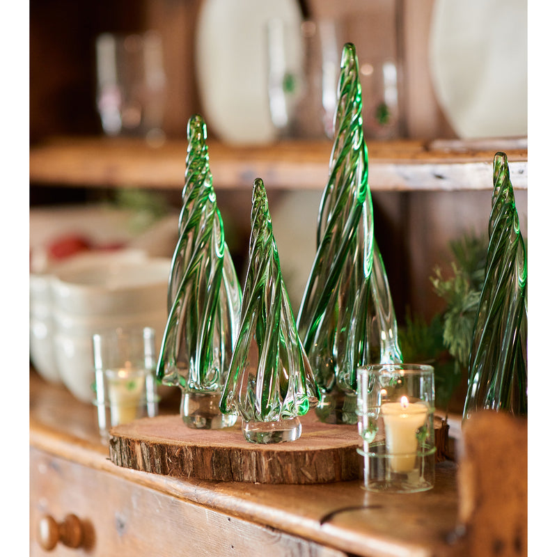 Clear Votive with Green Applied Glass Rope/Medallions