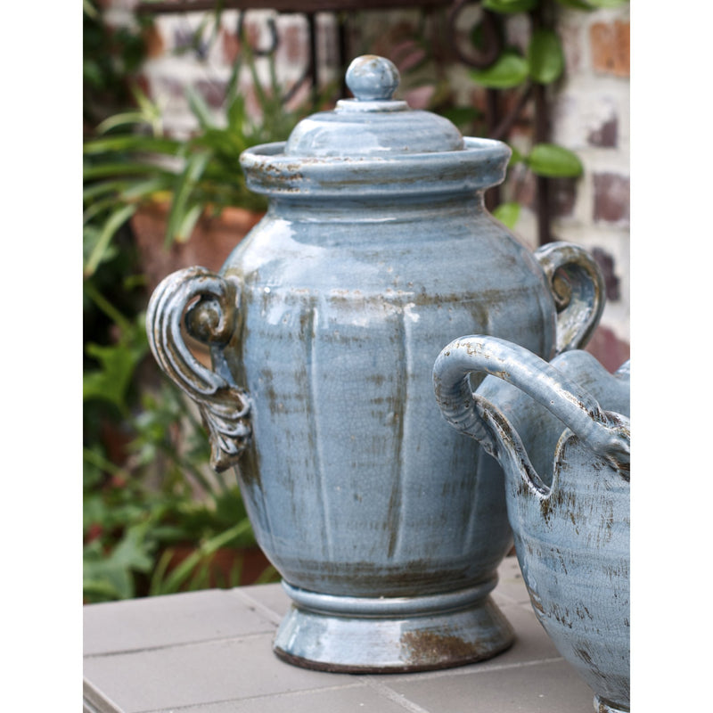 717334 Abigails Wholesale Home Décor Ceramics and Terra Cotta Jars Vinci Covered Jar Soft Blue Vinci