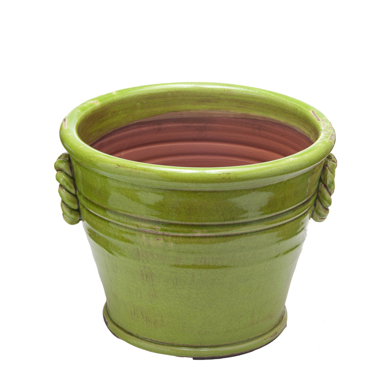 Vinci Planter, Green Glazed Terra Cotta, Large