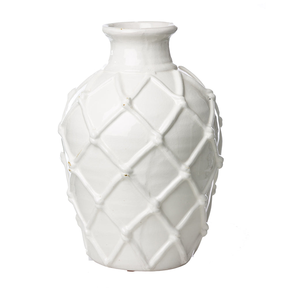 Vinci Criss Cross Pattern White Ceramic Vase