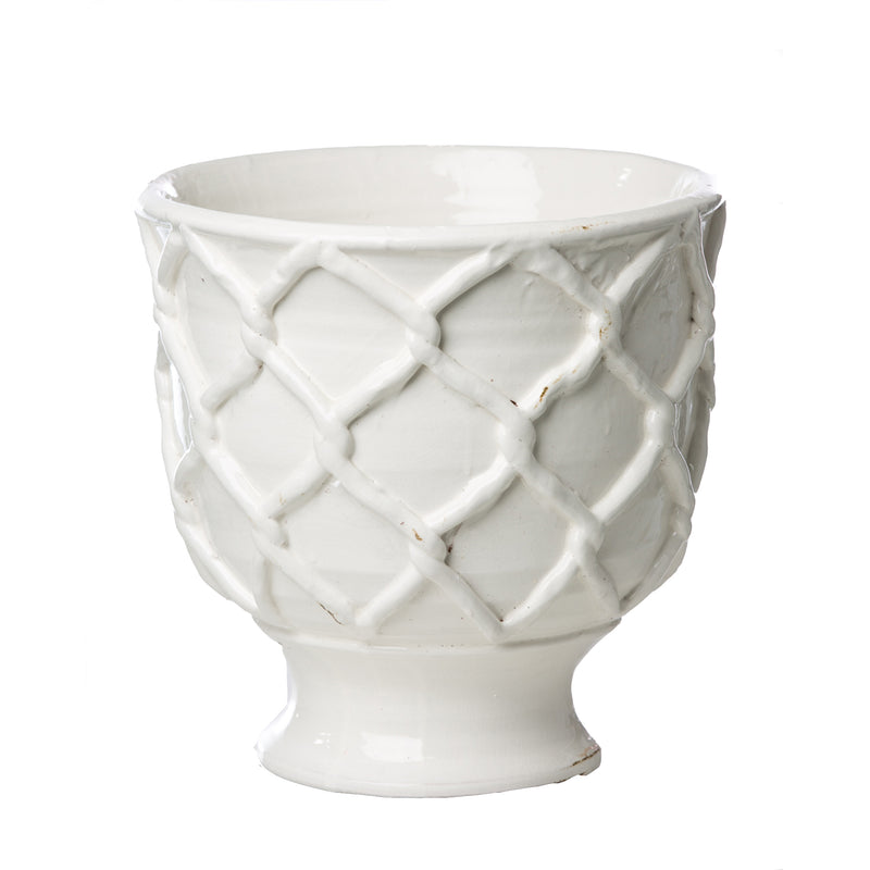 717803 Abigails Wholesale Home Décor Ceramics and Terra Cotta Planters Vinci Criss Cross Pattern White Ceramic Planter Large Vinci