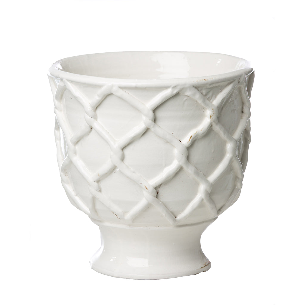 Vinci Criss Cross Pattern White Ceramic Planter, Large
